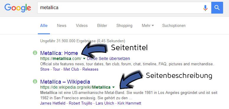Suchmaschinenoptimierung/SEO - Seitentitel und Seitenbeschreibung
