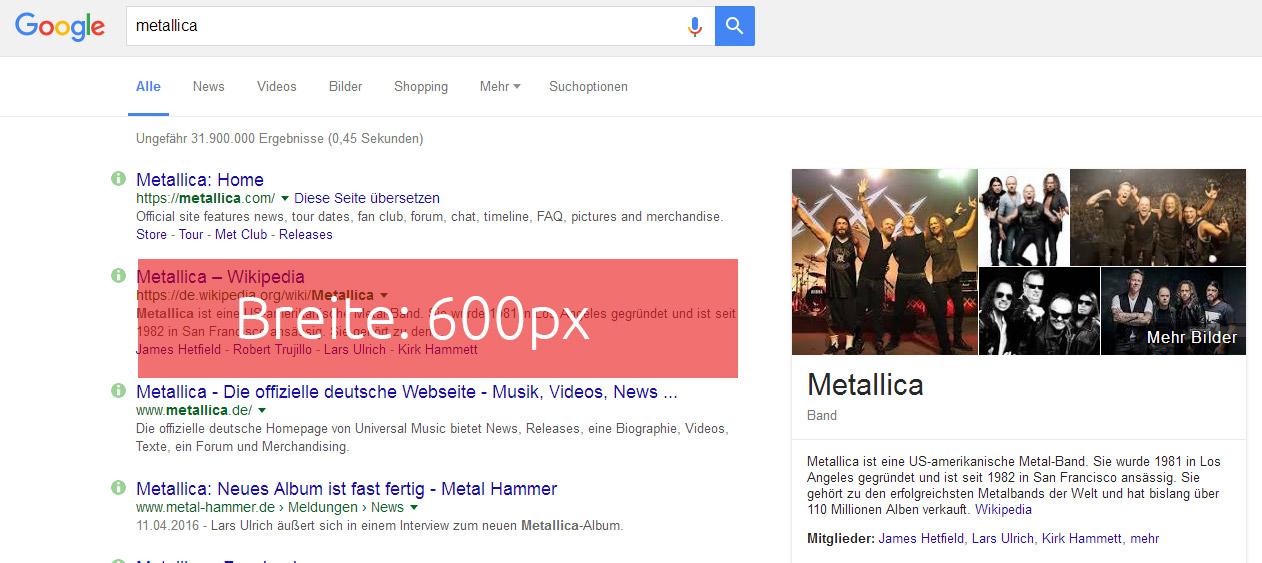 Google lässt jetzt 600 Pixel in der Breite zu.