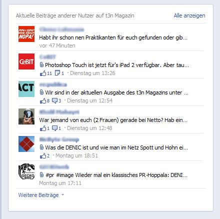 Die neue Facebook Chronik für Unternehmen - Nutzerbeiträge