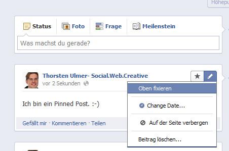 Facebook Chronik für Unternehmen - Pinned Post